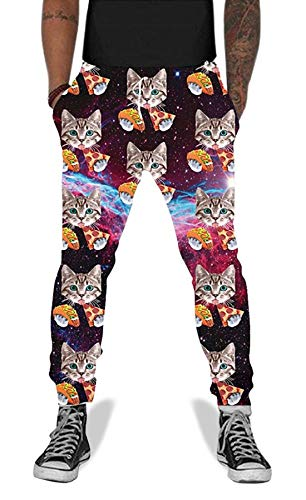 Belovecol Novelty Fashion Cute Graphic Joggers Pants for Mens Womens Space Pizza Cat Active Sweatpants Cool Casual Trousers with Side Pockets XL ()