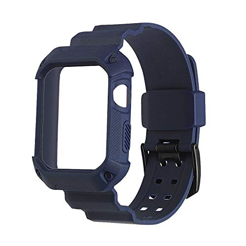 WEIJIJ Breathable Shockproof Rugged Protective Silicone Siamese Strap Frame Bumper Sports Rubber Replacement Watch Wrist Band Strap for Apple iwatch Series 1 2 3 42mm (Navy)