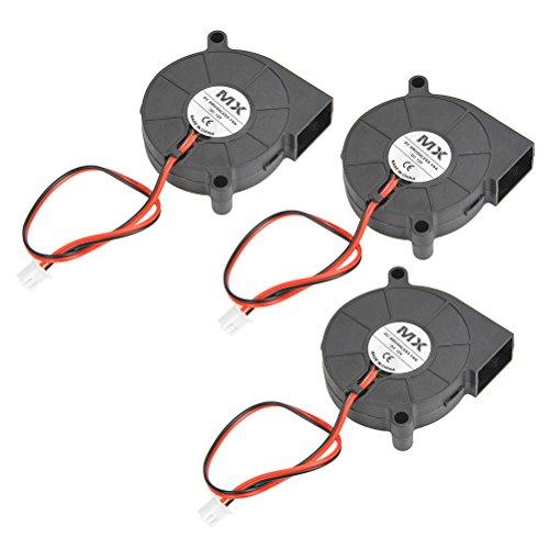 (YOTINO 3Pcs 5015 Fan 12V 0.23A 3D Printer Cooling Fan Blower Radial Fan for Prusa i3 Creality CR10(50 x 50 x 15mm, Black))