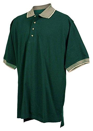 Tri-mountain Mens cotton pique golf shirt with jacquard trim. - FOREST GREEN / KHAKI - 5XLT