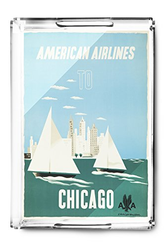 American Airlines - Chicago Vintage Poster (artist: Kauffer) USA c. 1951 (Acrylic Serving Tray)