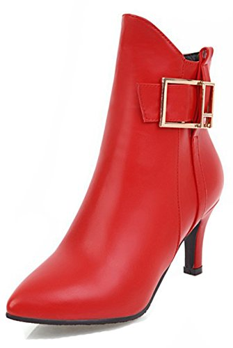 Aisun Womens Fashion Dressy Buckle Strap Inside Zip Up Pointed Toe Ankle Boots Stiletto Kitten Heel Booties With Zipper Red