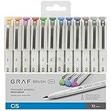 Marcador Graf Brush Fine Cis, Multicor, Pacote de 12