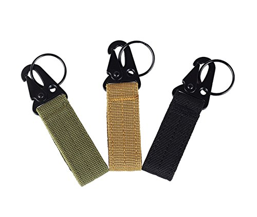 3 pcs Outdoor Gear Clip Band Keychain Nylon Belt EDC Molle Key Ring Holder Military Hanger Hook Carabiner by AUTULET