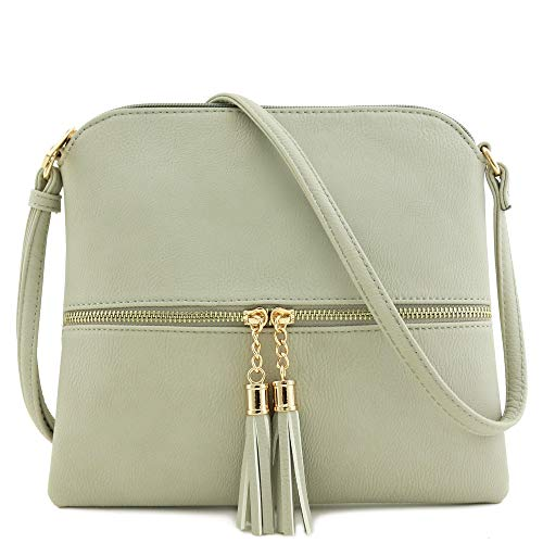 Lightweight Medium Crossbody Bag with Tassel (Light Grey) ()