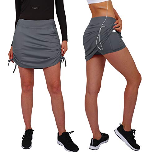 (HonourSex Womens Capri Skirt Tennis Casual Skirted Leggings Skort, Sport Running Athletic Swim Workout with Capri/Shorts)