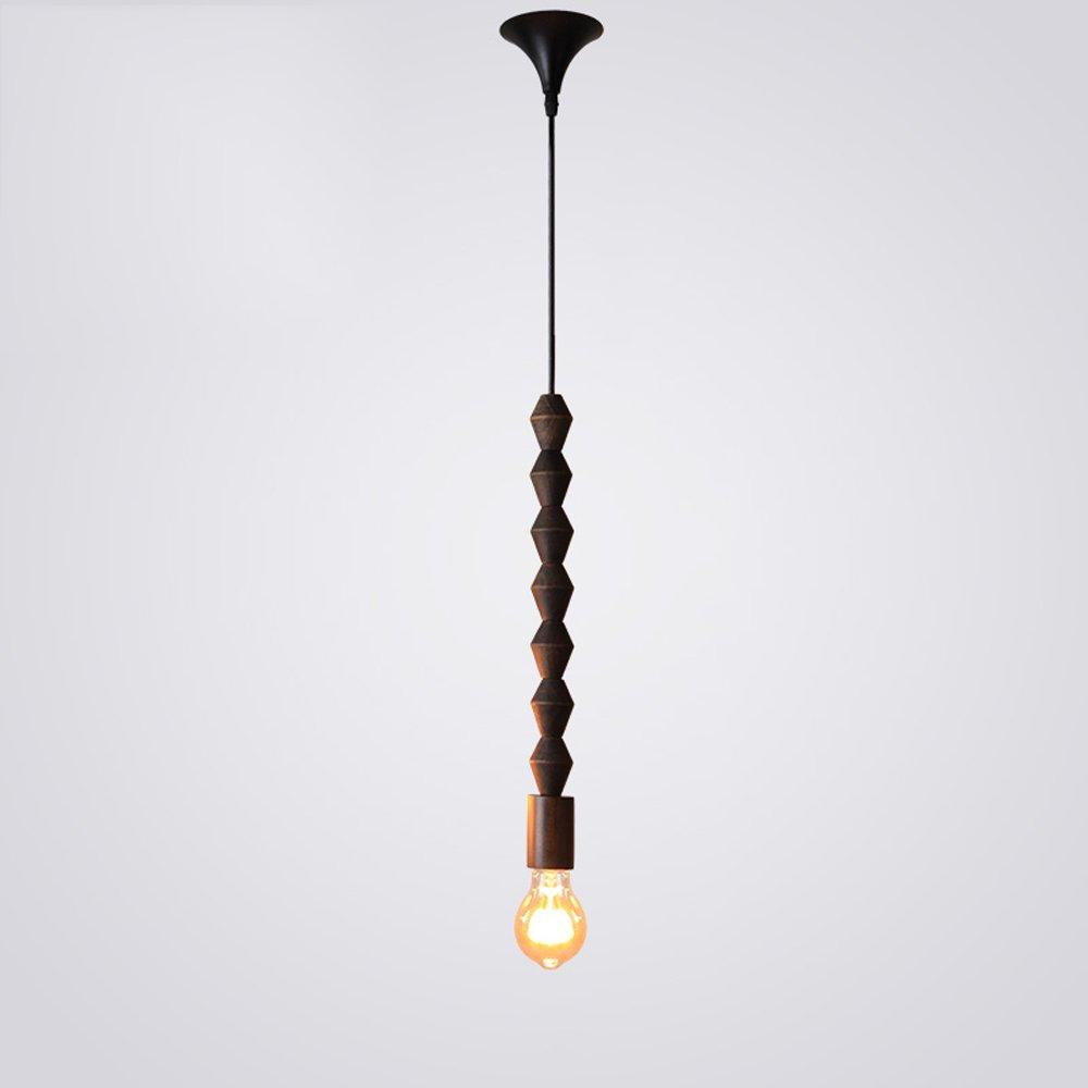 American Industrial Creative Retro Wooden Beaded Decorative Pendant Lamp Nordic Cafe Restaurant Bedroom Solid Wood E27 Chandelier Combination Art Fun Ceiling Light (Design : E)
