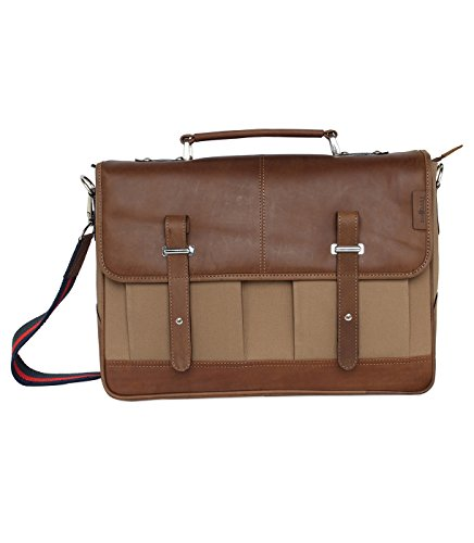 Tortoise Bag - Leather Canvas Messenger Bag for Men and Women 15 inch Laptop Vintage Satchel Business Briefcase Shoulder Bag for Everyday Use, Back to school by Tortoise (Khaki)