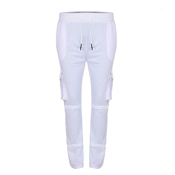 Rawdah_Pantalones Hombre Pantalones de chándal de Color Puro para ...
