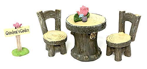 PaBu GuLi Miniature Furniture, Table and Chairs with Tea Set and Grandma's Garden Sign for Home Decor or Fairy Garden