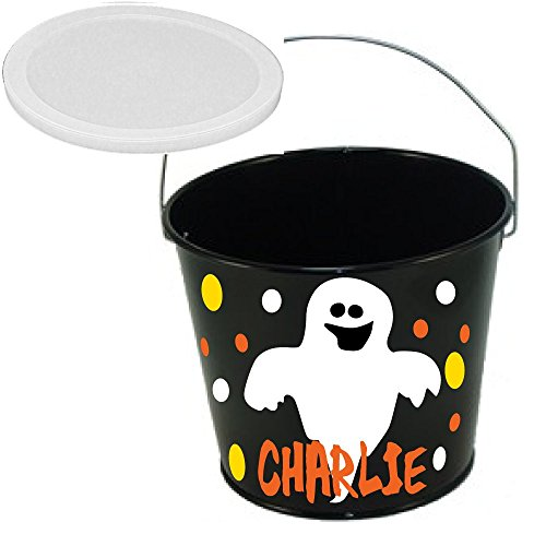 De La Design Gifts Personalized Halloween bucket black with ghost, name and polka dots, 5 quart metal with plastic lid