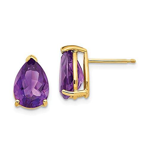 Top 10 Jewelry Gift 14k 10x7mm Pear Amethyst Earrings
