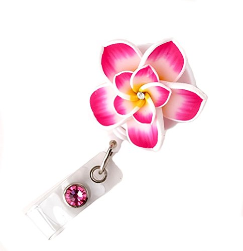 Badge Blooms ID Badge Reel - Plumeria - Fuchsia - Double Reel Badge