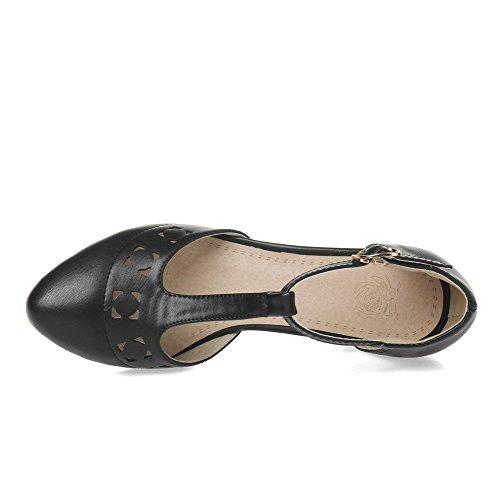 Musta Naisten Allhqfashion Huomautti Kiinteä Korkokengät Pehmeä Toe Suljettu Sandaalit Kissanpentu Materiaali Solki 1PwRUPSq