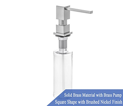 Steel Stainless Square Soap Dispenser (Built in Square Solid Brass Pump Deck Mount Modern Hand/Dish Soap Dispenser Stainless Steel Brushed Nickel – All Metal Construction - 13 OZ Capacity Bottle – Easy Refill From Top)