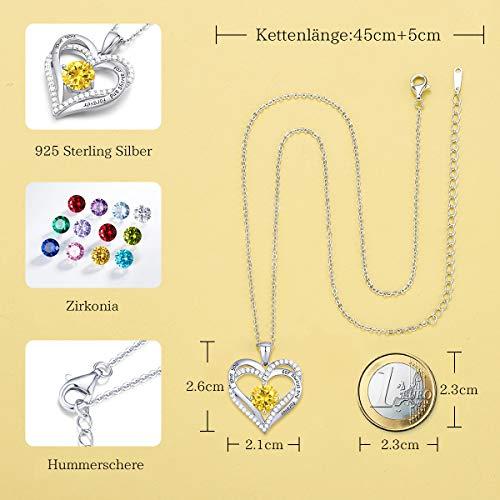 Herz Halskette 925 Sterling Silber Roségold, 5A Zirkonia Birthstone Anhänger Kette Damen Muttertag Schmuck Geschenk mit Box (Sterlingsilber November)