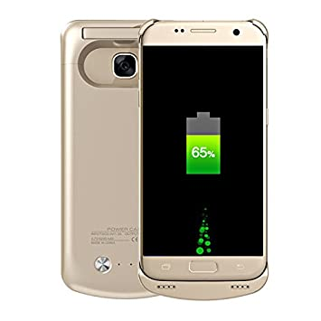Funda para batería Galaxy S7, batería Recargable de 4200 mAh, batería extendida, Cargador portátil, Cargador de batería para Samsung Galaxy S7 Dorado