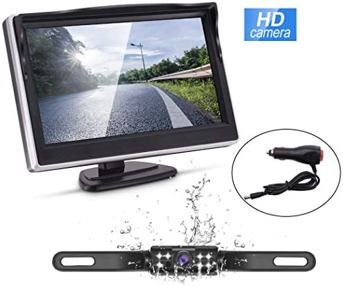 Backup Camera and Monitor Kit,Waterproof Night Vision Rear View Camera Single 5 inch HD Back Up Camera for Car RV Truck Pickup Van Camper Accfly