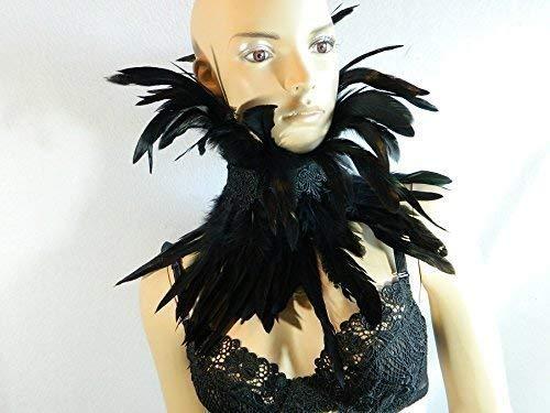 Feder Halsband Kragen schwarz Choker Kropfband Kette