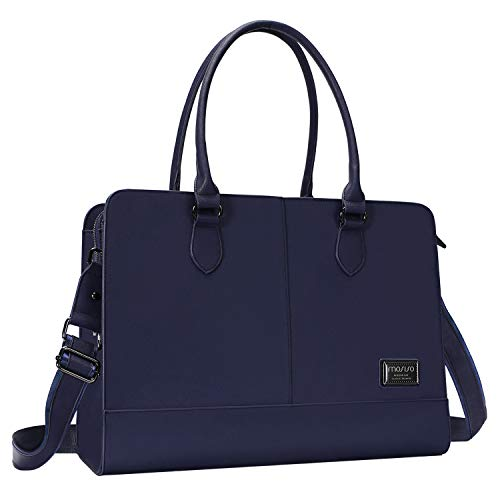 (MOSISO Womens Laptop Bag (Up to 15.6 Inch), Briefcase for Women,PU Leather Large Capacity with 3 Layer Compartments Business Work Travel Tote Shoulder Handbag Compatible MacBook & Notebook, Navy Blue)