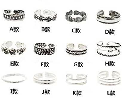 Bingirl 12pcs Celebrity Fashion Retro Silver Carved Flower Adjustable Open Toe Ring Finger Foot Jewelry