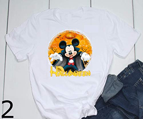 Mickey Minnie Chip Dale Halloween Trick or Treat Vampire Witch Spooky Pumpkin Disney Epcot Printed T-Shirt Unisex, Womens, Toddler