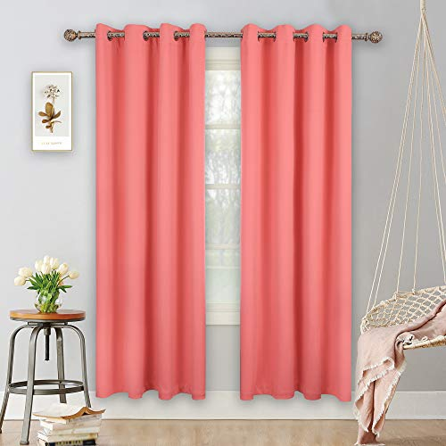 YGO Coral Blackout Curtains for Bedroom 2 Panels Set Room Darkening Drapes Thermal Insulated Solid Grommets Window Treatment Pair for Nursery, Living Room,W52xL84 inch