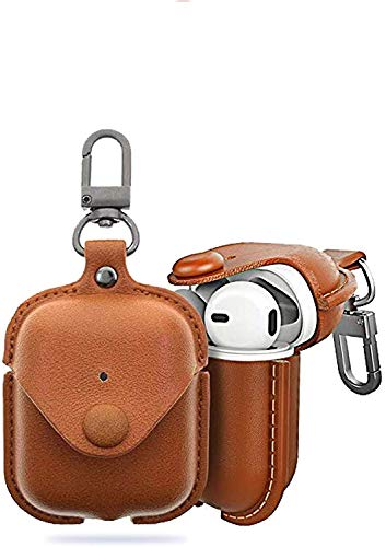 DEALPICK AMZY PU Leather Case for Apple AirPods True Wireless Bluetooth Earphone Charging Protective Case Cover Bag Pouch for Air Pods – Light Brown