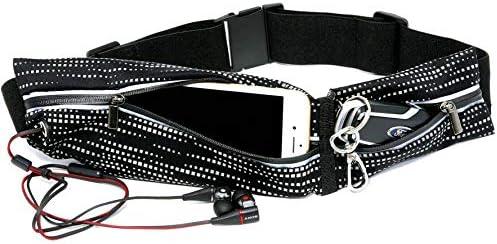Slimfit Running Pouch Belt, No-Bounce Waist Bag for Runners Men and Women Waterproof Jogging Pocket Belt for Phone Dual Pocket Running Fanny Pack Reflective Running Gear