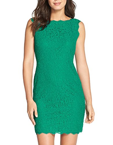 Berydress Sleevless Sheath Lace Dress for Women (US6, Green)