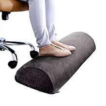Premium Therapeutic Grade Foot Rest Cushion - Half Cylinder Memory Foam Foot Stand - Portable Footrest - Comfortably Rests and Soothes Sore Feet While Working at Office, Desk, or Home