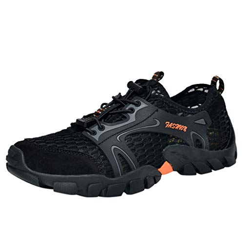 Bralonees Mens Breathable Climbing Shoes Outdoor Sports Walking Sneakers Lightweight Non-Slip Casual Trekking Running Black