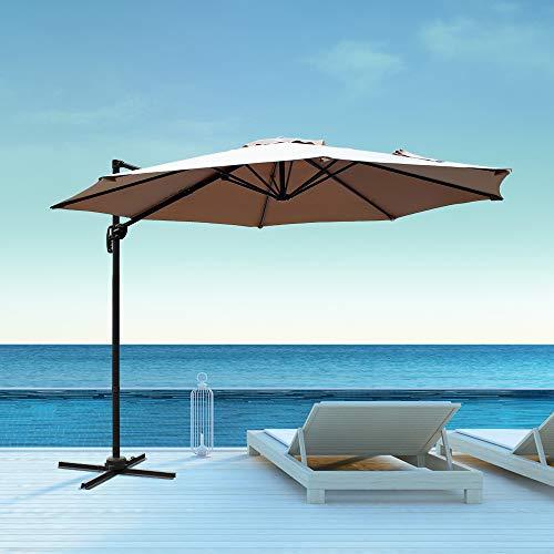 Aclumsy 10ft Patio Offset Cantilever Umbrella-Patio Hanging Umbrellas,Outdoor Market Umbrellas with Crank Lift Cross Base Beige