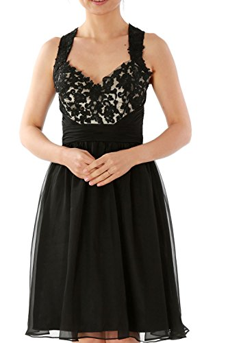 Short Mini Evening Lace Gown Cocktail Homecoming Schwarz Dress MACloth Halter Prom Party nCqSTWYw