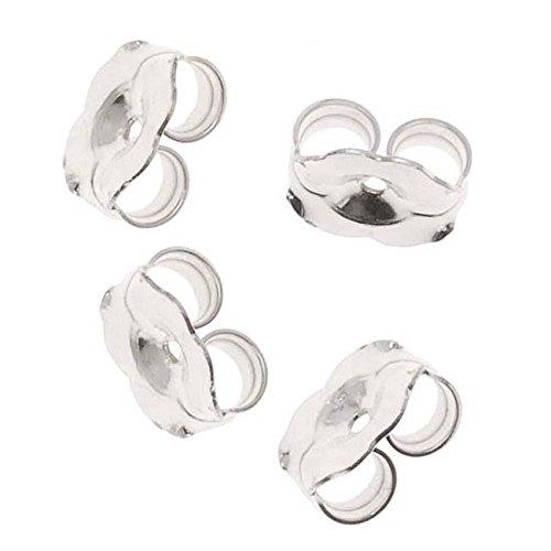 Beadaholique 5005160 12-Piece Sterling Earring Backs, 6mm, Silver
