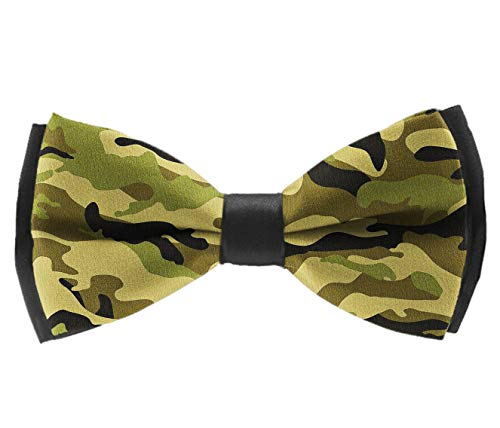 INWANZI Army Camouflage 3D Camo Print Men Pre-Tied Bowtie with Adjustable Length Classic Party Bow Tie