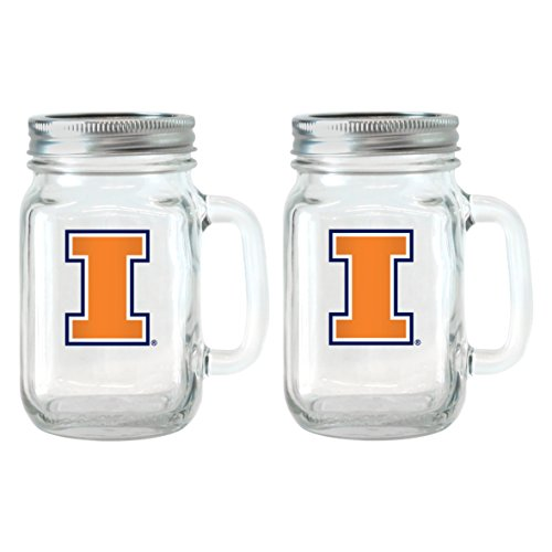 Illinois Fighting Illini Glass (Boelter Brands NCAA Illinois Fighting Illini Glass Mason Jar with Lid, 16-Ounce, 2-Pack)