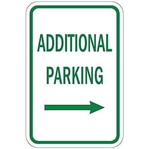 Aparcamiento adicional con flecha derecha Quote Sign de aluminio Metal Sign Regalo para hombres seguridad Yard Sign