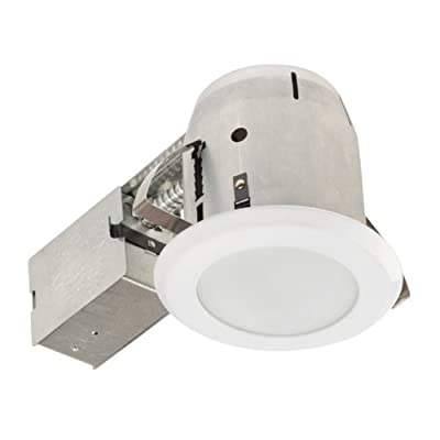 Globe Electric 9210201 5 inch Recessed Lighting Kit, Bathroom, White Finish with Frosted Glass, Flood Light