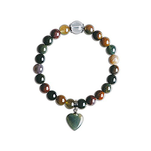 iSTONE Natural Indian Jade Love Heart Charm Stretch 8mm Beaded Bracelet Unisex 7 inch - Jade Bead Love Heart Bracelet