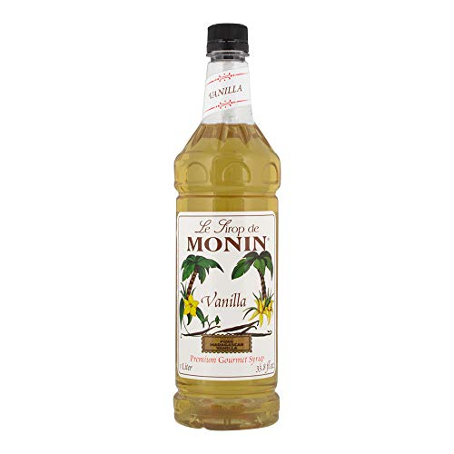 Flavored Simple Syrup - Monin - Vanilla Syrup, Versatile Flavor, Great for Coffee, Shakes, and Cocktails, Gluten-Free, Vegan, Non-GMO (1 Liter)