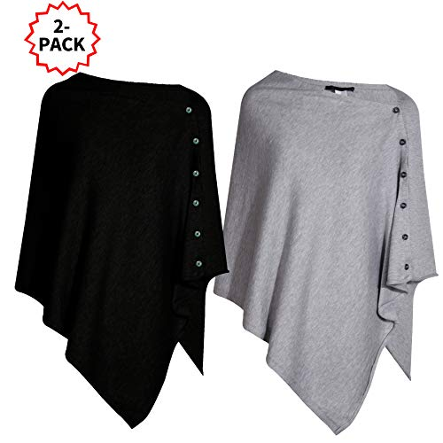 Pack of 2 Womens Versatile Knitted Scarf with Buttons Light Weight Spring Summer Autumn Shawl Poncho Cape Cardigan, Black/Grey