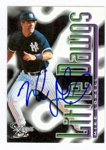 Mike Lowell autographed baseball card (New York Yankees) 1998 Skybox Dugout Acess #93 (Yankees New Authentic York Dugout)