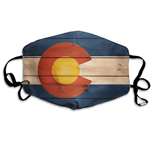 Reusable Anti-dust Face Mask for Adults Kids Teens, Vintage Wooden Pattern Colorado Flag Mouth Mask Anti Pollution Pollen Allergy Flu Germs Mouth Cover for Outdoor Cycling Motorcycle