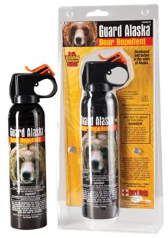 "Guard Alaska Bear Spray with Nylon Holster 2 Size: 9 Ounce Supersize. Range: Approximately 15-20 feet. Dimensions: 8 3/4"" x 2"""