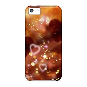 New Ryt5485nCEp Shiny Red Hearts Skin Cases Covers Shatterproof Cases For Iphone 5c