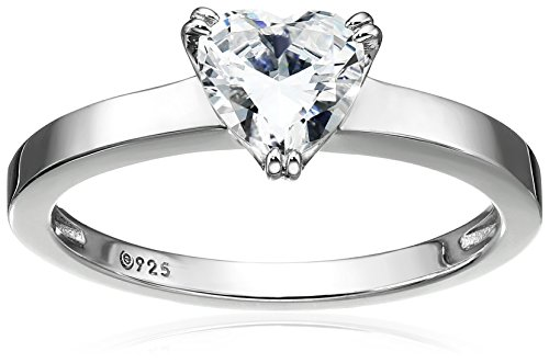 Platinum-Plated Silver Heart-Shape (1.5 cttw) Solitaire Ring made with Swarovski Zirconia, Size 9