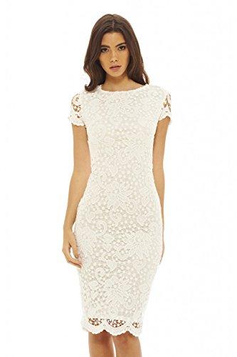 AX Paris Women's Crochet Lace Midi Dress(Cream, Size:4)