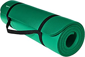 AmazonBasics 1/2-Inch Extra Thick Exercise Mat with Carrying Strap, Green