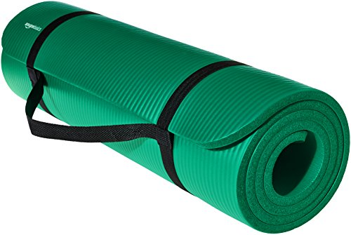AmazonBasics Extra Thick Exercise Yoga Gym Floor Mat with Carrying Strap - 74 x 24 x .5 Inches, Green